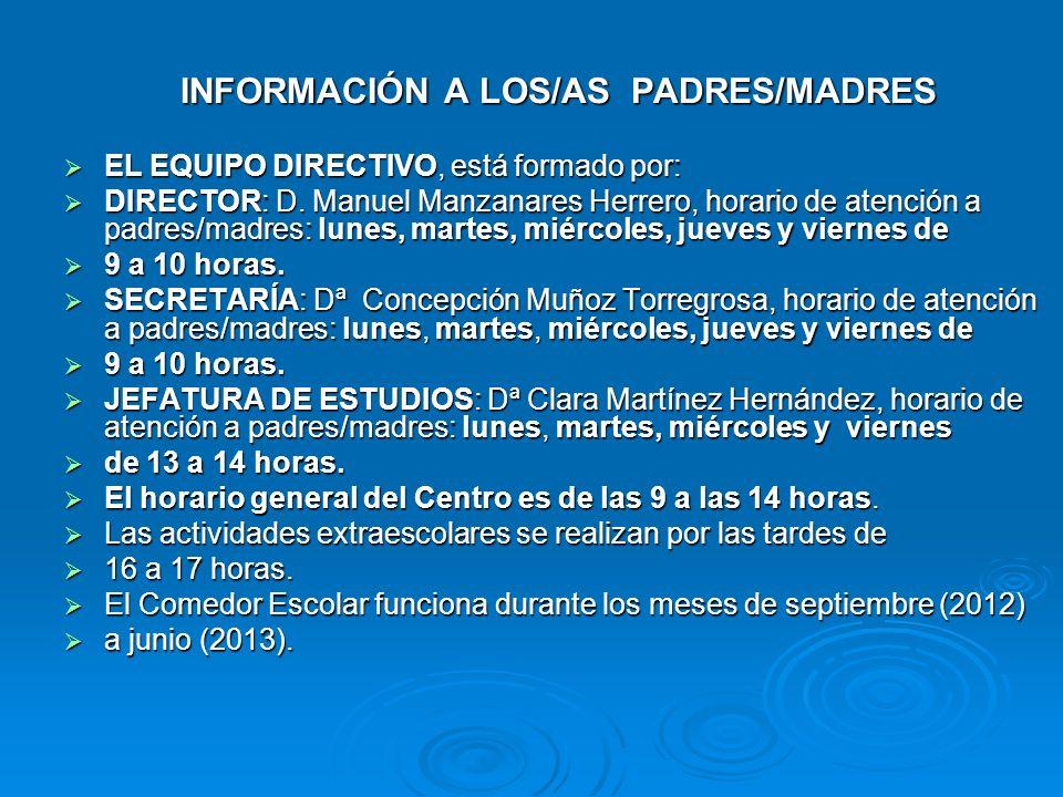 INFORMACIÓN A LOS/AS PADRES/MADRES EL EQUIPO DIRECTIVO, está formado por: EL EQUIPO DIRECTIVO, está formado por: DIRECTOR: D. Manuel Manzanares Herrer