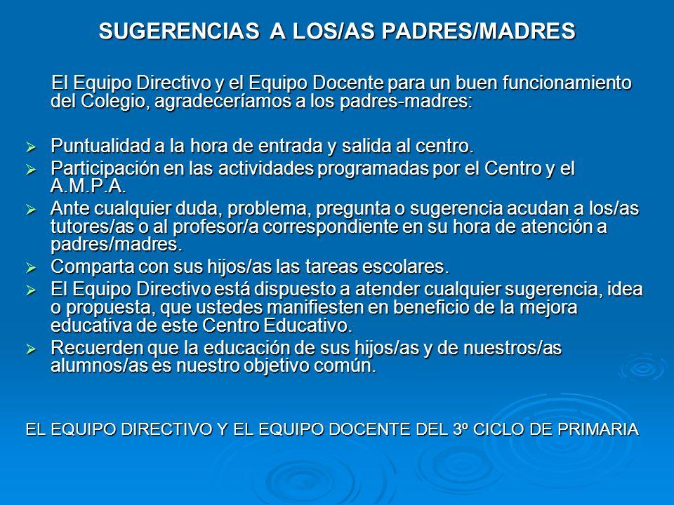 SUGERENCIAS A LOS/AS PADRES/MADRES El Equipo Directivo y el Equipo Docente para un buen funcionamiento del Colegio, agradeceríamos a los padres-madres