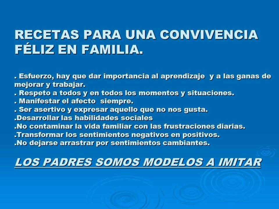 RECETAS PARA UNA CONVIVENCIA FÉLIZ EN FAMILIA.. Esfuerzo, hay que dar importancia al aprendizaje y a las ganas de mejorar y trabajar.. Respeto a todos