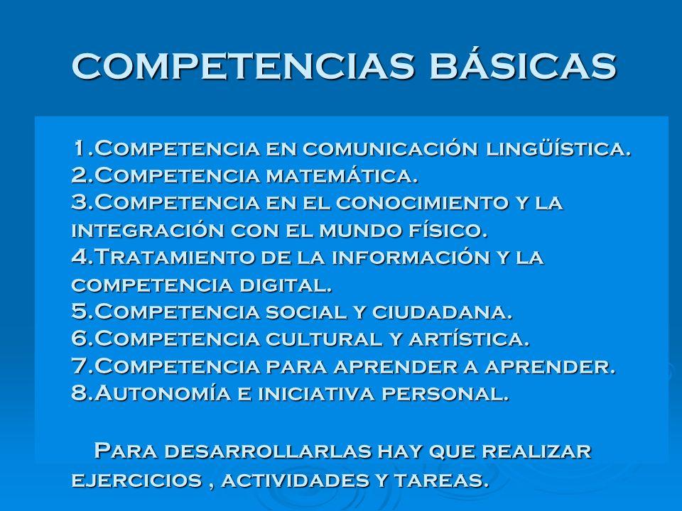 COMPETENCIAS BÁSICAS 1.Competencia en comunicación lingüística. 2.Competencia matemática. 3.Competencia en el conocimiento y la integración con el mun