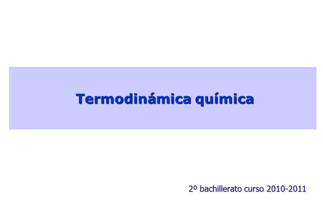 Termodinámica química Termodinámica química 2º bachillerato curso 2010-2011