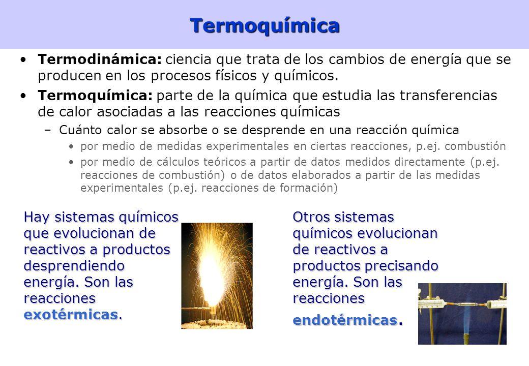 4Termoquímica Termodinámica: ciencia que trata de los cambios de energía que se producen en los procesos físicos y químicos.