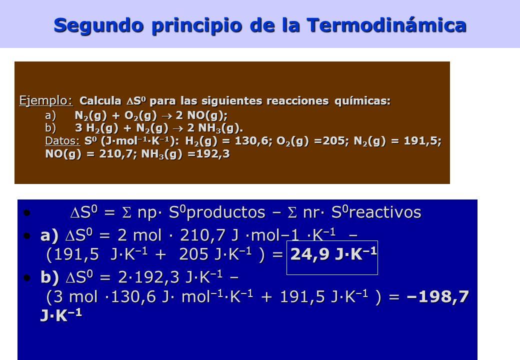 40 Segundo principio de la Termodinámica La entropía del universo aumenta en un proceso espontáneo y permanece constante en un proceso no espontáneo (