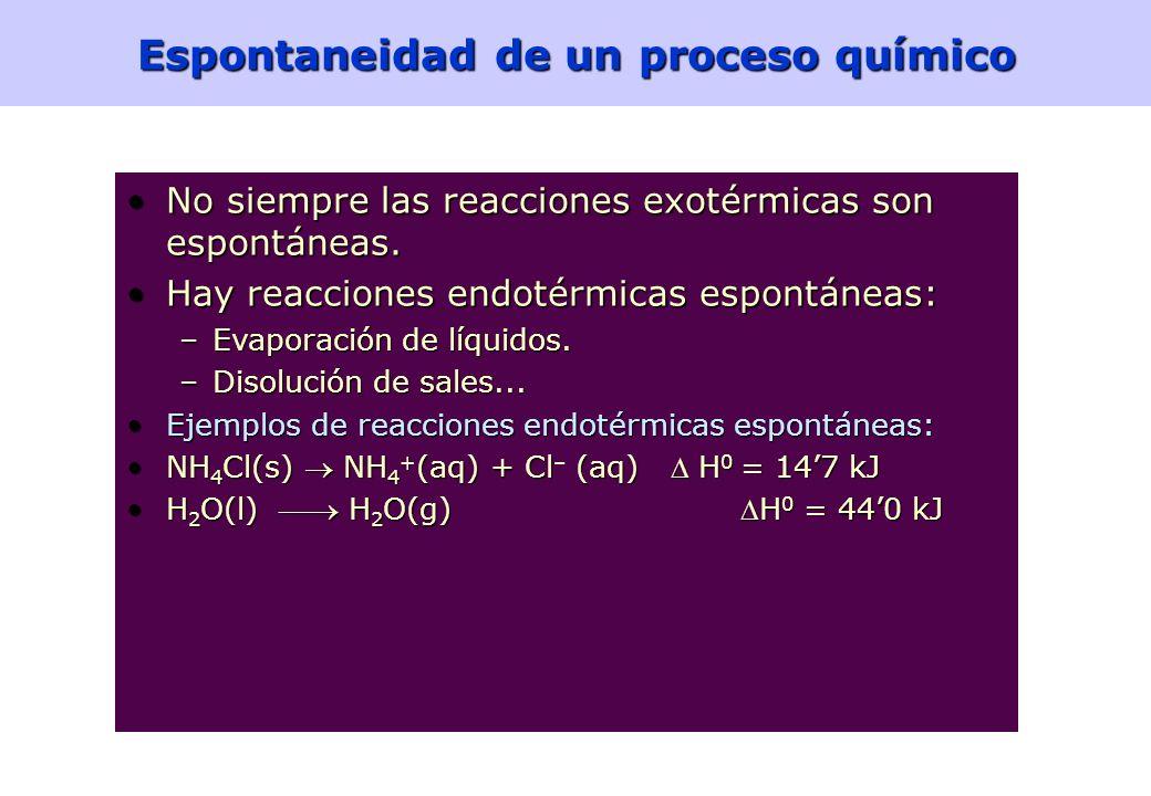 48 Energía libre de Gibbs estándar Ejemplo: Para la reacción – –a) ¿Cuánto vale la entalpía de reacción estándar a 298K? b) ¿Y la entropía de reacción