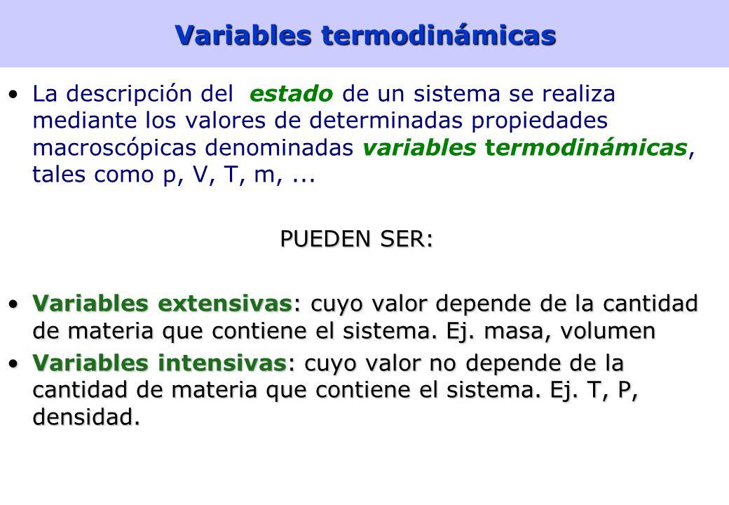 6 Variables termodinámicas La descripción del estado de un sistema se realiza mediante los valores de determinadas propiedades macroscópicas denominadas variables termodinámicas, tales como p, V, T, m,...