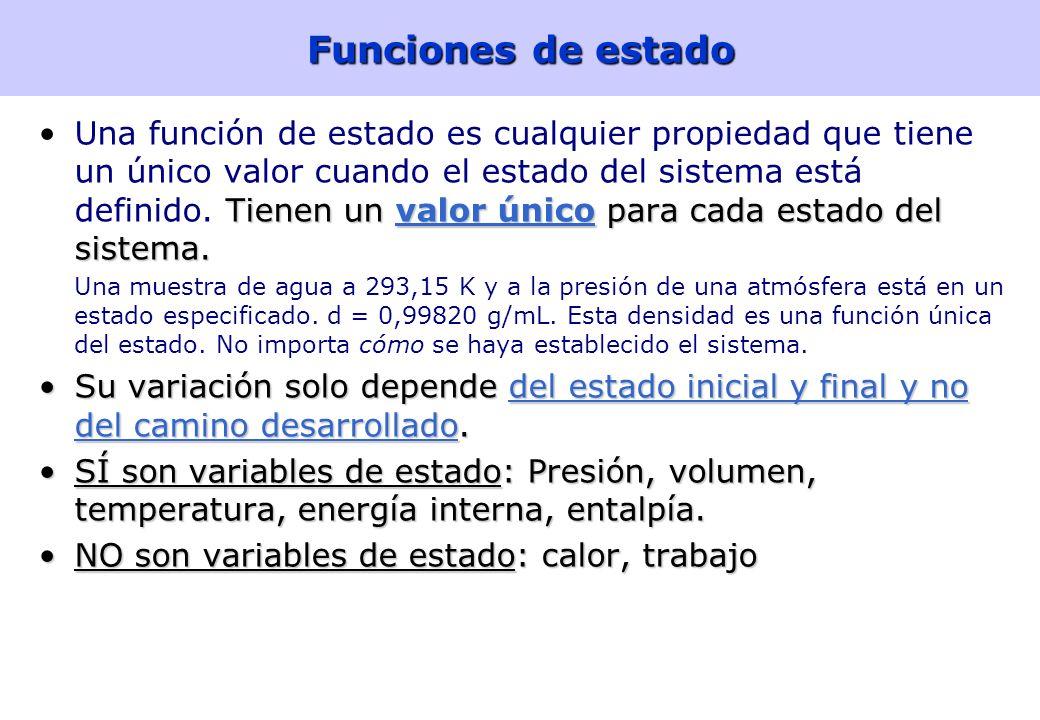 7 Funciones de estado Tienen un valor único para cada estado del sistema.Una función de estado es cualquier propiedad que tiene un único valor cuando el estado del sistema está definido.