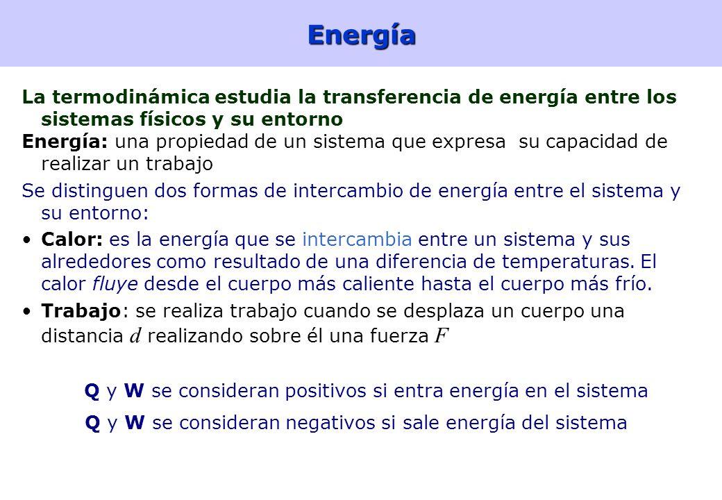 9Energía La termodinámica estudia la transferencia de energía entre los sistemas físicos y su entorno Energía: una propiedad de un sistema que expresa su capacidad de realizar un trabajo Se distinguen dos formas de intercambio de energía entre el sistema y su entorno: Calor: es la energía que se intercambia entre un sistema y sus alrededores como resultado de una diferencia de temperaturas.