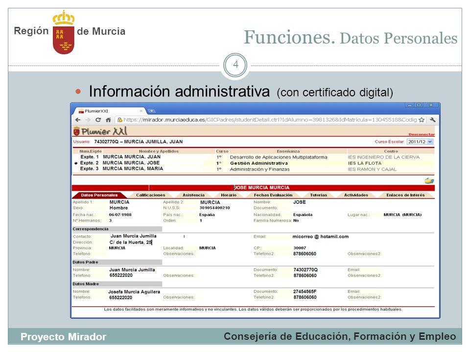 Funciones. Datos Personales 4 Información administrativa (con certificado digital) Consejería de Educación, Formación y Empleo Proyecto Mirador de Mur