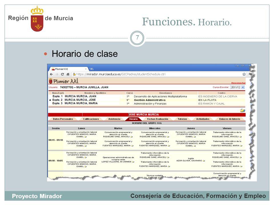 7 Horario de clase Funciones. Horario. Consejería de Educación, Formación y Empleo Proyecto Mirador de Murcia Región
