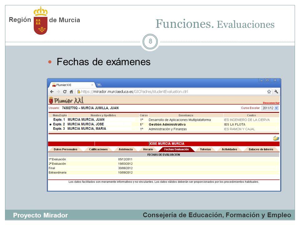8 Fechas de exámenes Funciones. Evaluaciones Consejería de Educación, Formación y Empleo Proyecto Mirador de Murcia Región