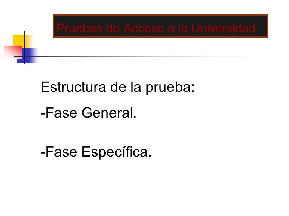 Pruebas de Acceso a la Universidad Estructura de la prueba: -Fase General. -Fase Específica.