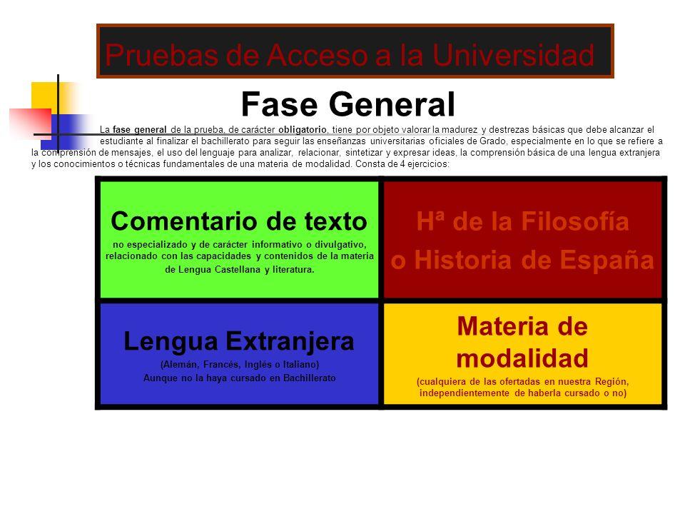Fase General La fase general de la prueba, de carácter obligatorio, tiene por objeto valorar la madurez y destrezas básicas que debe alcanzar el estud
