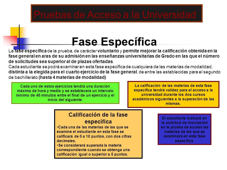 Fase Específica La fase específica de la prueba, de carácter voluntario y permite mejorar la calificación obtenida en la fase general en aras de su ad