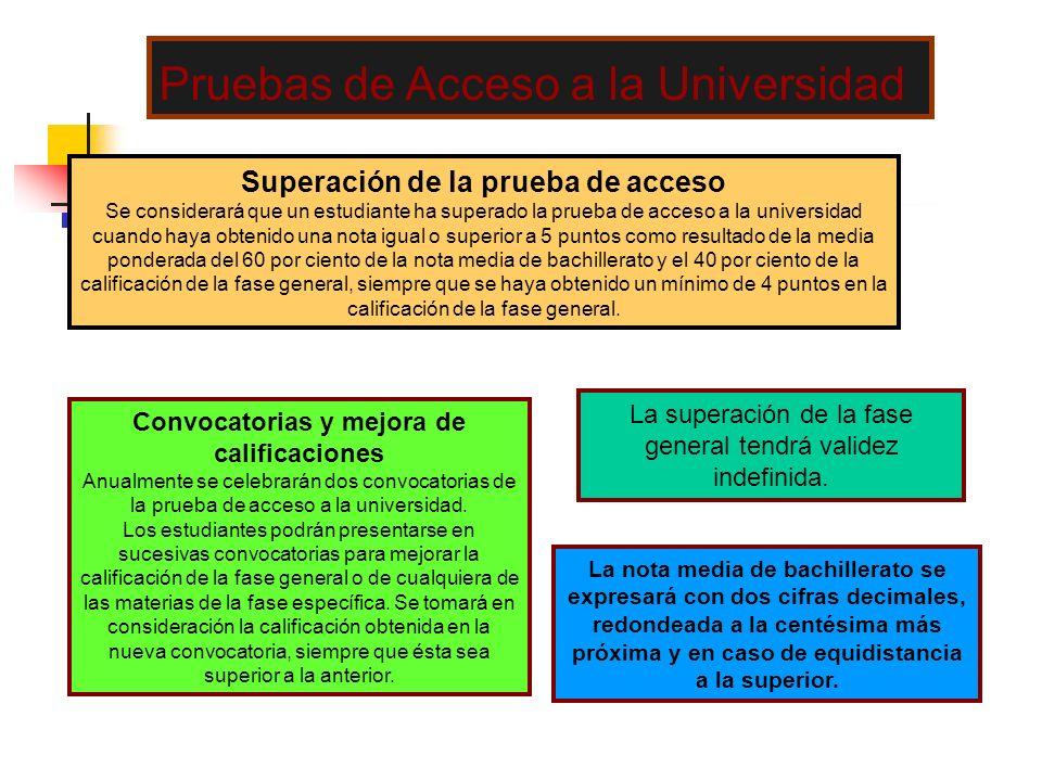 Superación de la prueba de acceso Se considerará que un estudiante ha superado la prueba de acceso a la universidad cuando haya obtenido una nota igua