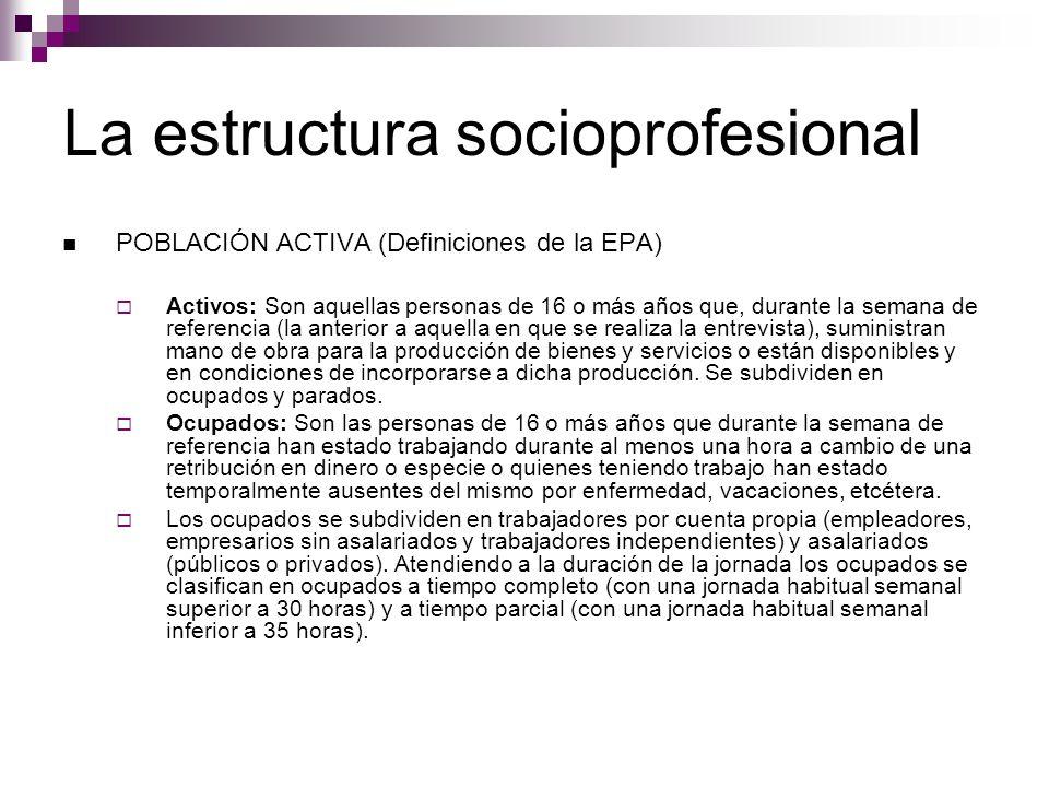 La estructura socioprofesional POBLACIÓN ACTIVA (Definiciones de la EPA) Activos: Son aquellas personas de 16 o más años que, durante la semana de ref