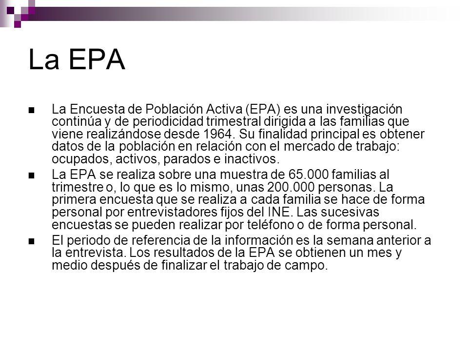 La EPA La Encuesta de Población Activa (EPA) es una investigación continúa y de periodicidad trimestral dirigida a las familias que viene realizándose