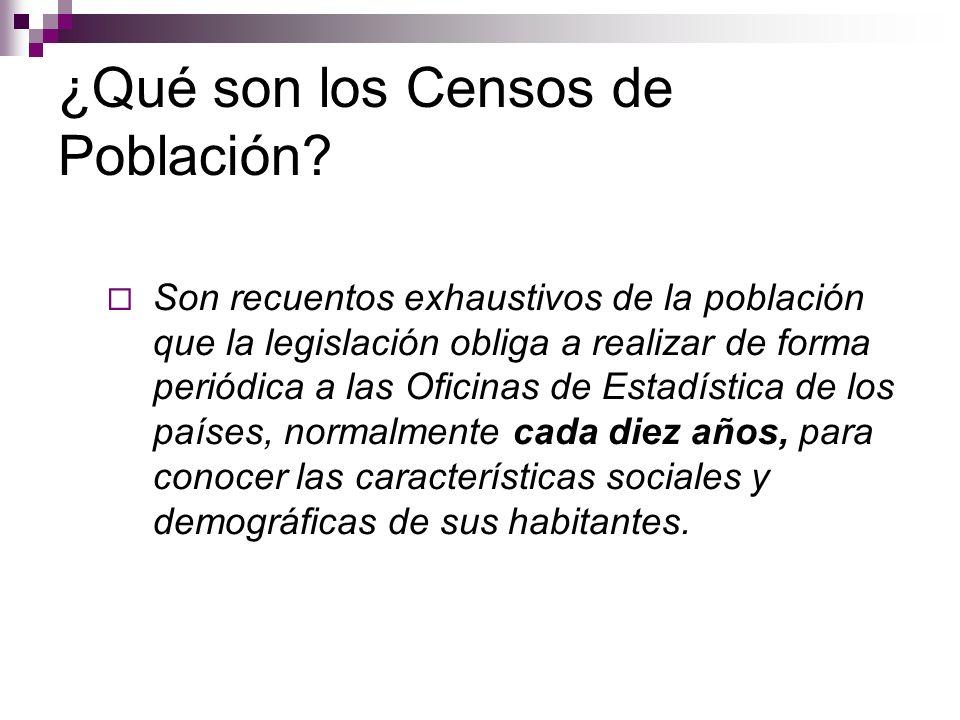 ¿Qué son los Censos de Población? Son recuentos exhaustivos de la población que la legislación obliga a realizar de forma periódica a las Oficinas de
