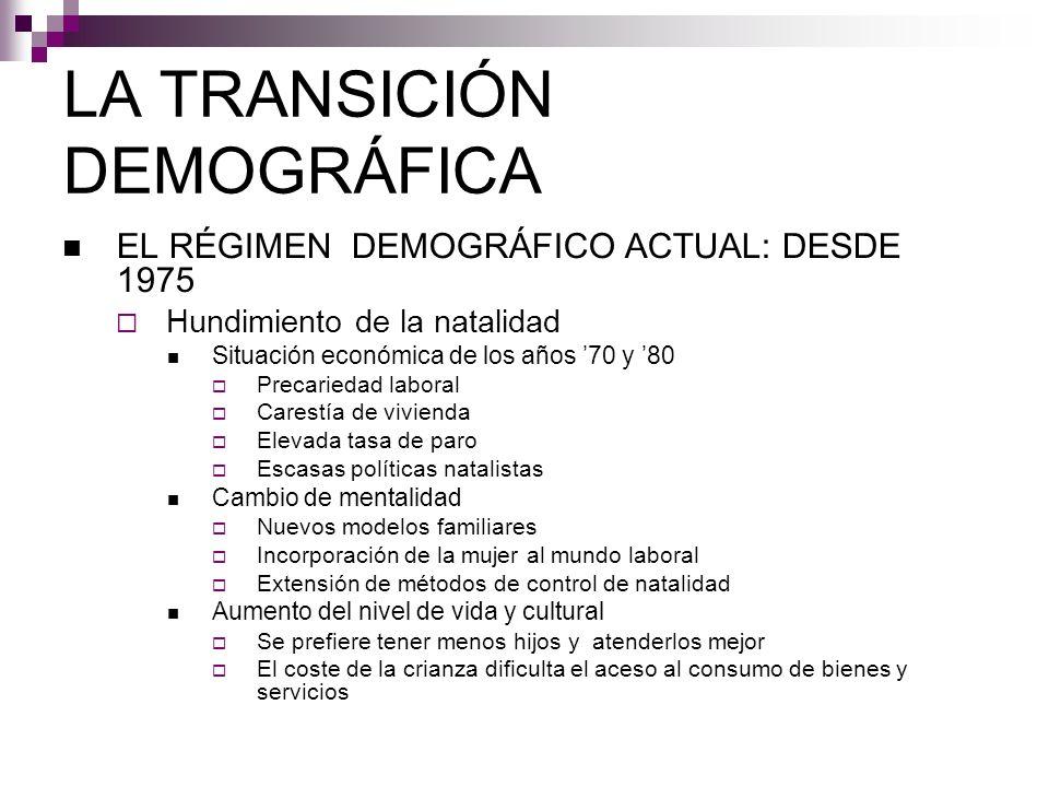 LA TRANSICIÓN DEMOGRÁFICA EL RÉGIMEN DEMOGRÁFICO ACTUAL: DESDE 1975 Hundimiento de la natalidad Situación económica de los años 70 y 80 Precariedad la