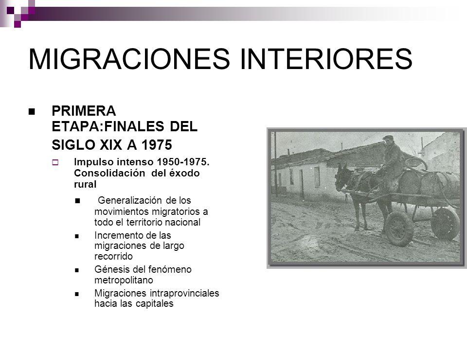 MIGRACIONES INTERIORES PRIMERA ETAPA:FINALES DEL SIGLO XIX A 1975 Impulso intenso 1950-1975. Consolidación del éxodo rural Generalización de los movim