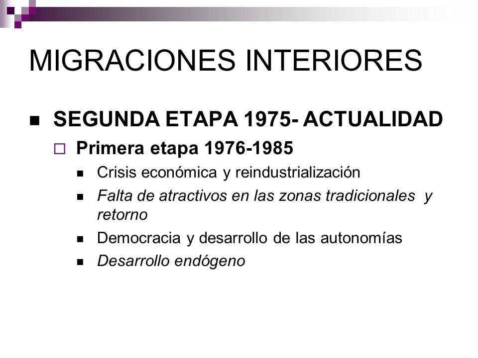 MIGRACIONES INTERIORES SEGUNDA ETAPA 1975- ACTUALIDAD Primera etapa 1976-1985 Crisis económica y reindustrialización Falta de atractivos en las zonas