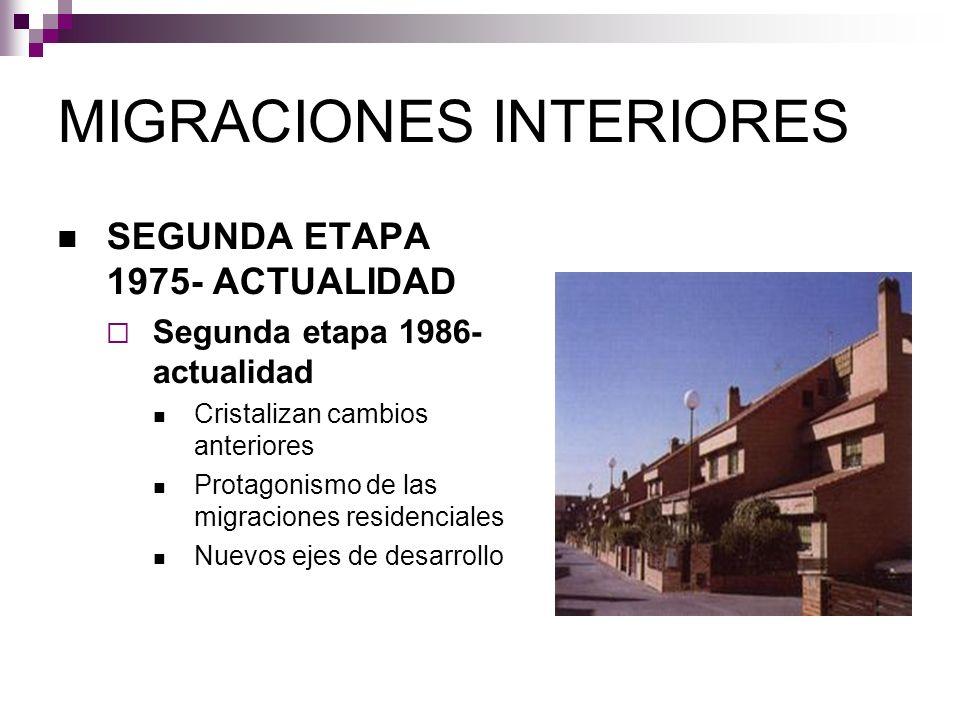 MIGRACIONES INTERIORES SEGUNDA ETAPA 1975- ACTUALIDAD Segunda etapa 1986- actualidad Cristalizan cambios anteriores Protagonismo de las migraciones re