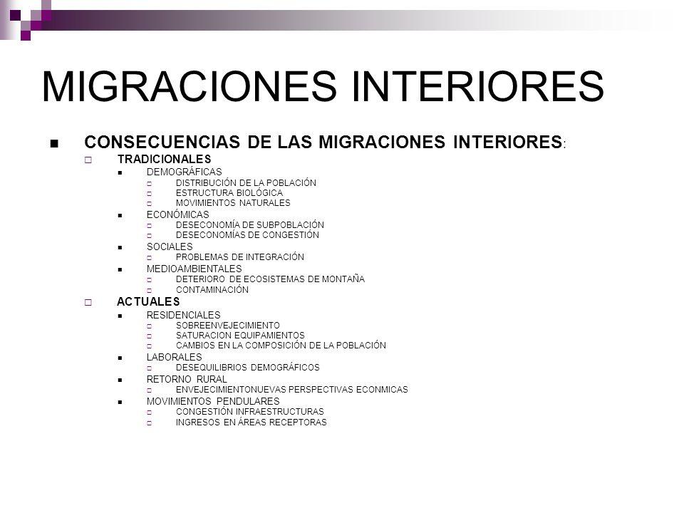 MIGRACIONES INTERIORES CONSECUENCIAS DE LAS MIGRACIONES INTERIORES : TRADICIONALES DEMOGRÁFICAS DISTRIBUCIÓN DE LA POBLACIÓN ESTRUCTURA BIOLÓGICA MOVI