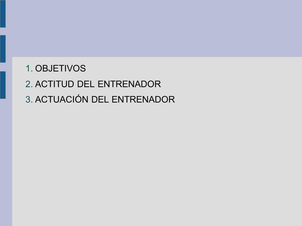 1.OBJETIVOS 2.ACTITUD DEL ENTRENADOR 3.ACTUACIÓN DEL ENTRENADOR