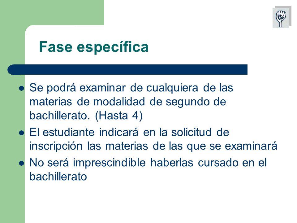 Fase específica Se podrá examinar de cualquiera de las materias de modalidad de segundo de bachillerato.