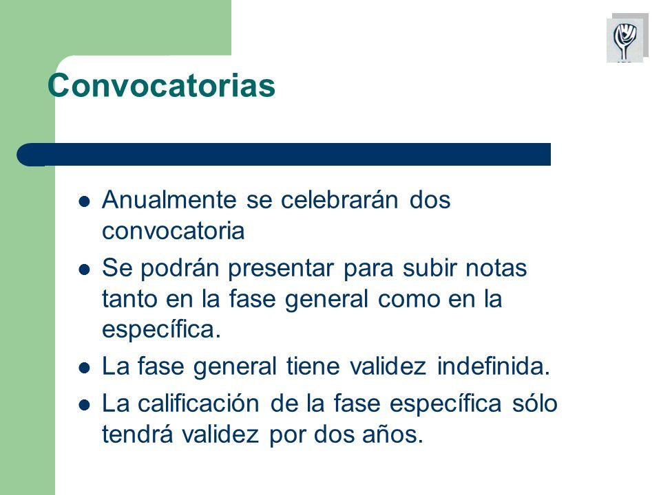 Convocatorias Anualmente se celebrarán dos convocatoria Se podrán presentar para subir notas tanto en la fase general como en la específica.