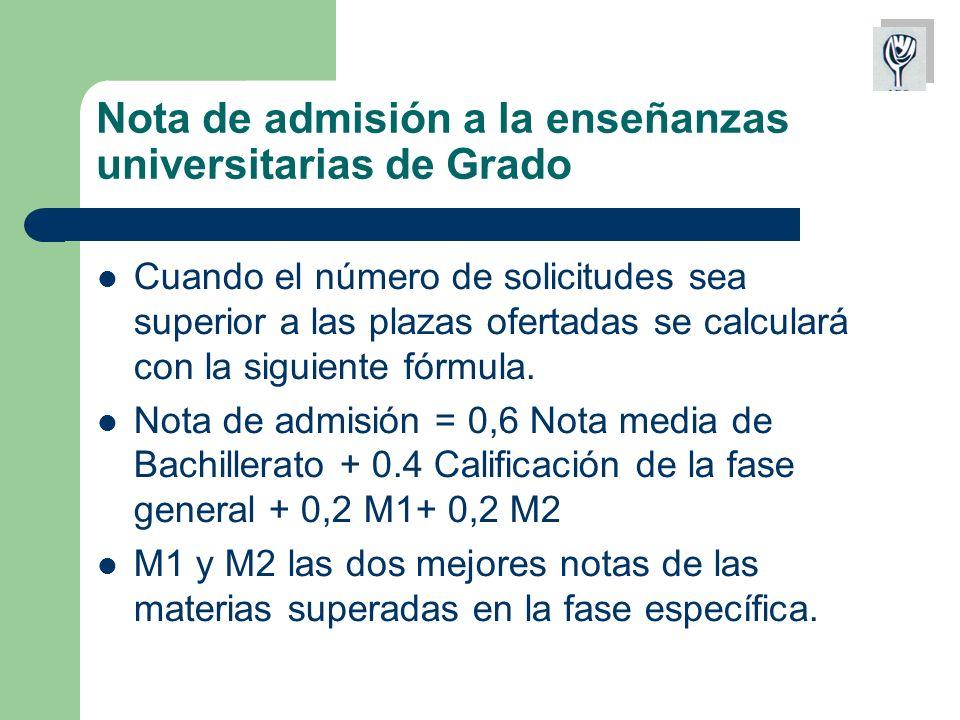Nota de admisión a la enseñanzas universitarias de Grado Cuando el número de solicitudes sea superior a las plazas ofertadas se calculará con la siguiente fórmula.