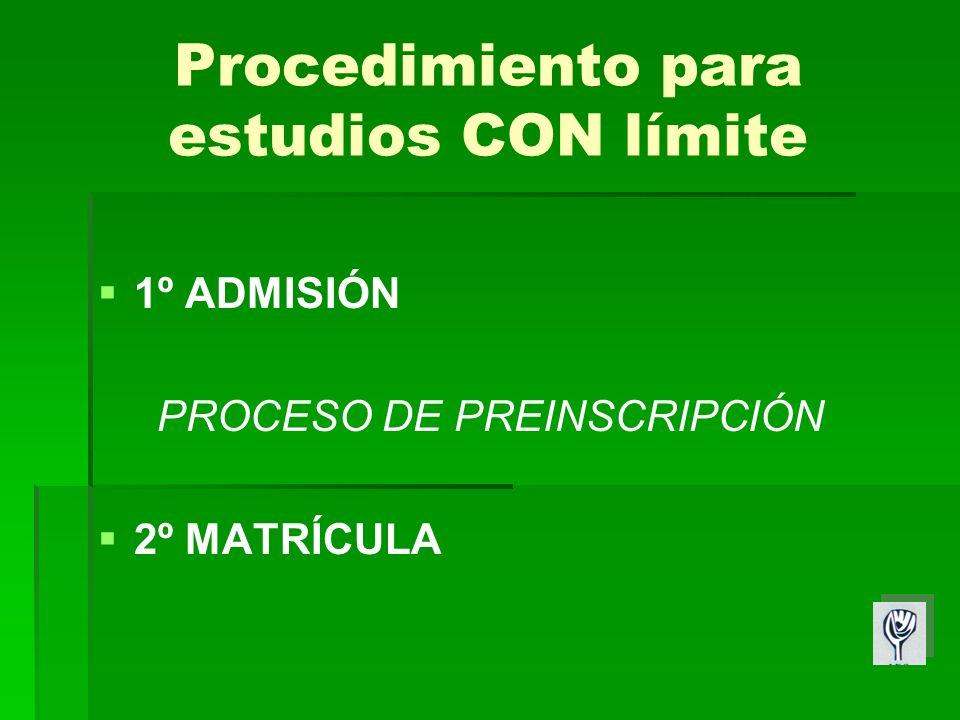 Procedimiento para estudios CON límite 1º ADMISIÓN PROCESO DE PREINSCRIPCIÓN 2º MATRÍCULA