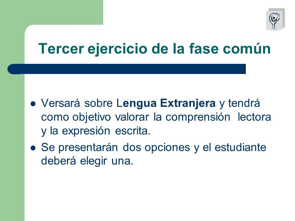 Tercer ejercicio de la fase común Versará sobre Lengua Extranjera y tendrá como objetivo valorar la comprensión lectora y la expresión escrita.
