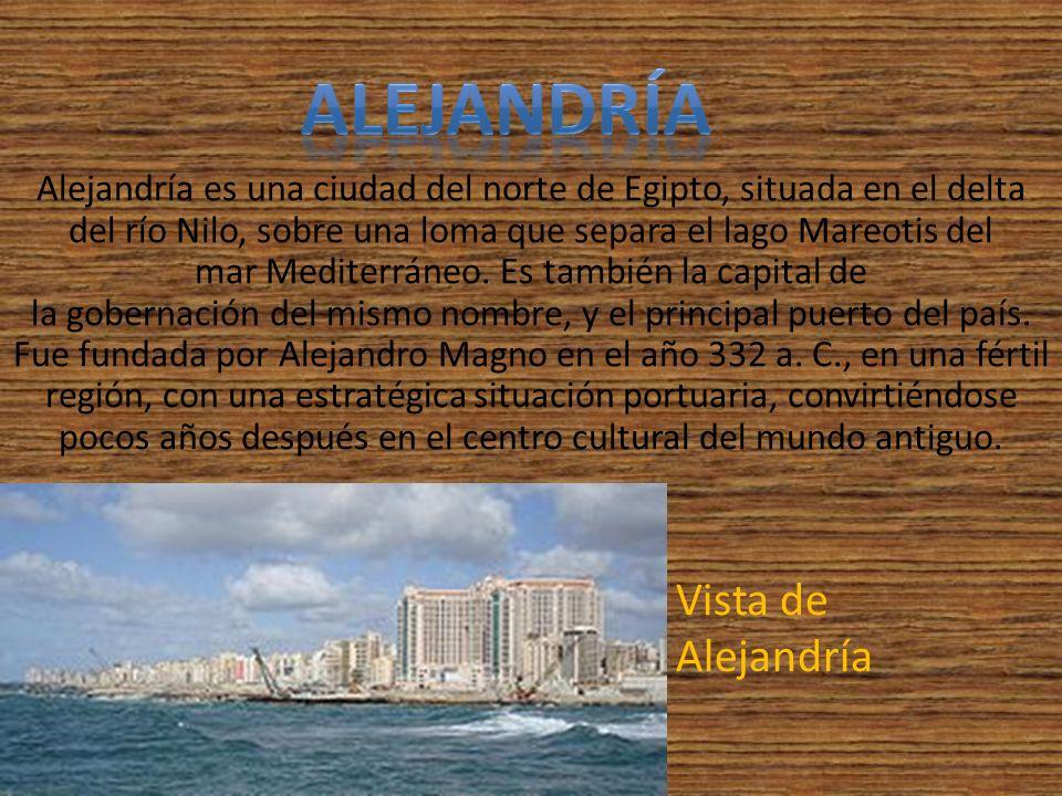 Alejandría es una ciudad del norte de Egipto, situada en el delta del río Nilo, sobre una loma que separa el lago Mareotis del mar Mediterráneo. Es ta