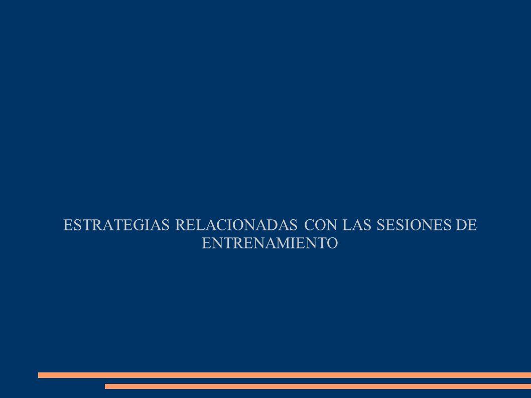 ESTRATEGIAS RELACIONADAS CON LAS SESIONES DE ENTRENAMIENTO