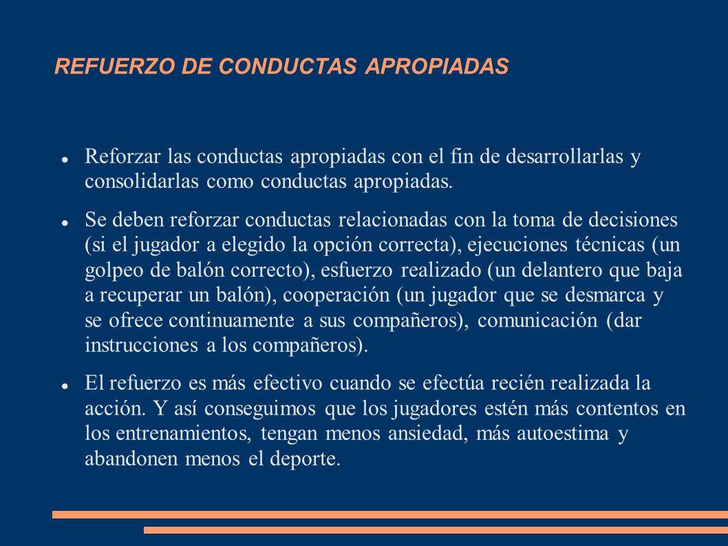 REFUERZO DE CONDUCTAS APROPIADAS Reforzar las conductas apropiadas con el fin de desarrollarlas y consolidarlas como conductas apropiadas. Se deben re