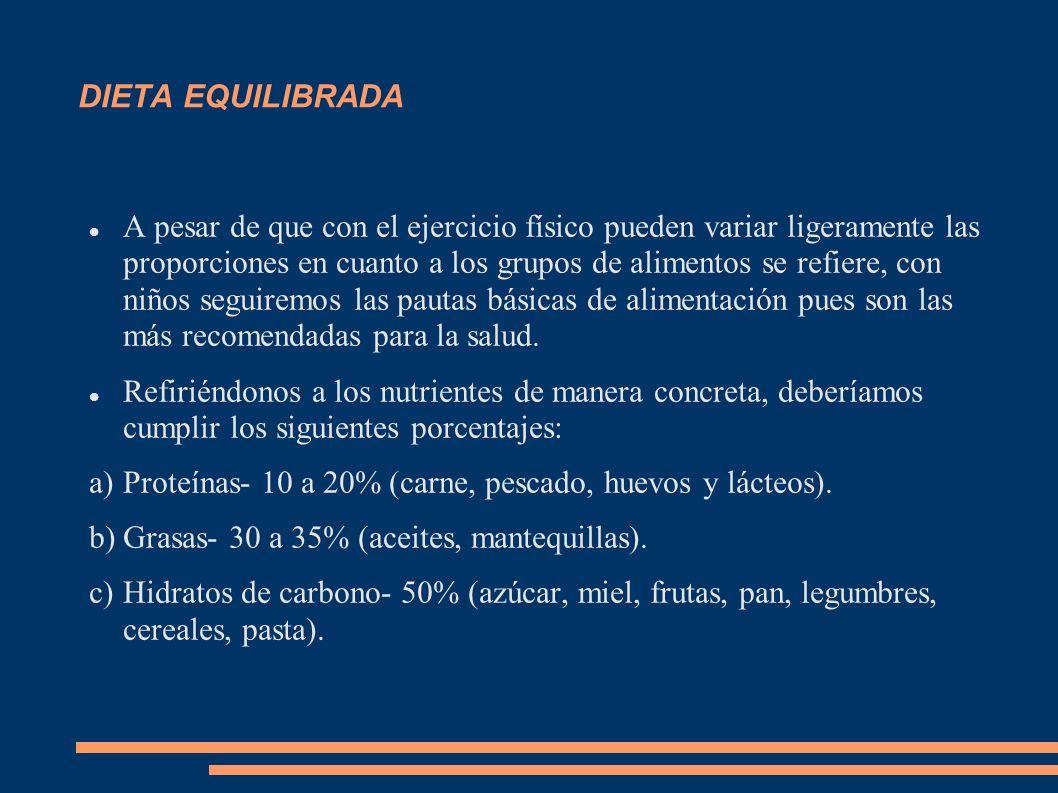 DIETA EQUILIBRADA A pesar de que con el ejercicio físico pueden variar ligeramente las proporciones en cuanto a los grupos de alimentos se refiere, co