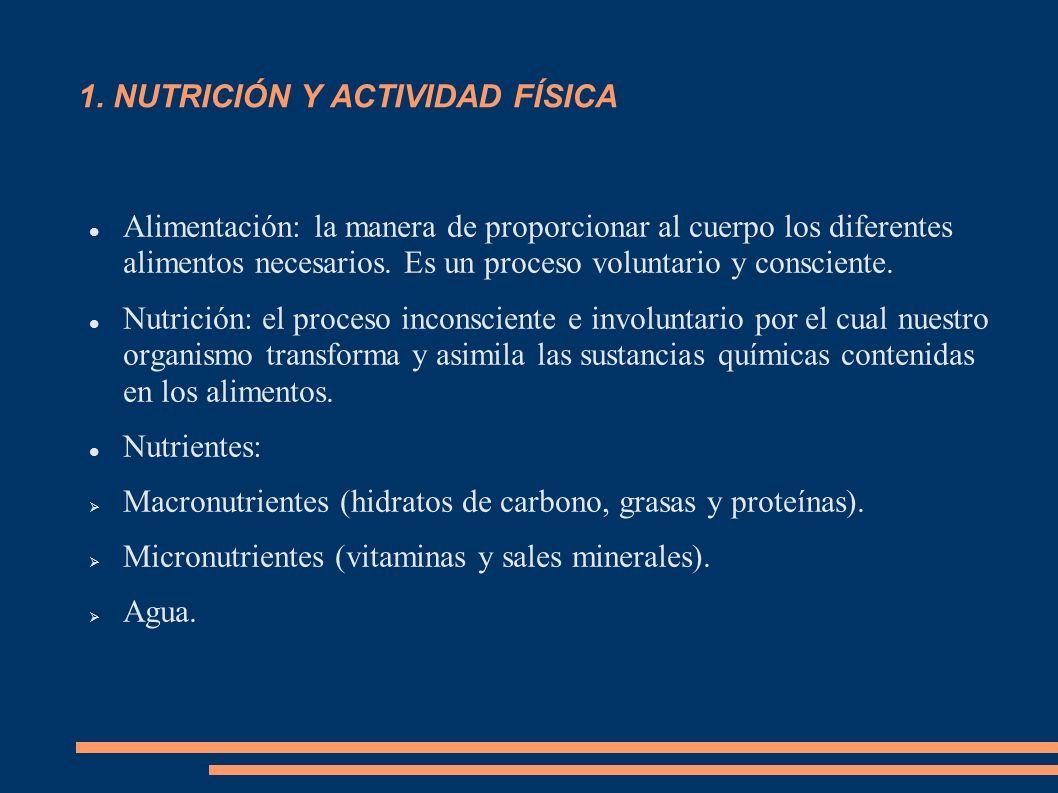 1. NUTRICIÓN Y ACTIVIDAD FÍSICA Alimentación: la manera de proporcionar al cuerpo los diferentes alimentos necesarios. Es un proceso voluntario y cons