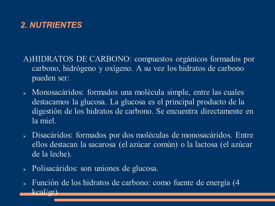 2. NUTRIENTES A)HIDRATOS DE CARBONO: compuestos orgánicos formados por carbono, hidrógeno y oxígeno. A su vez los hidratos de carbono pueden ser: Mono