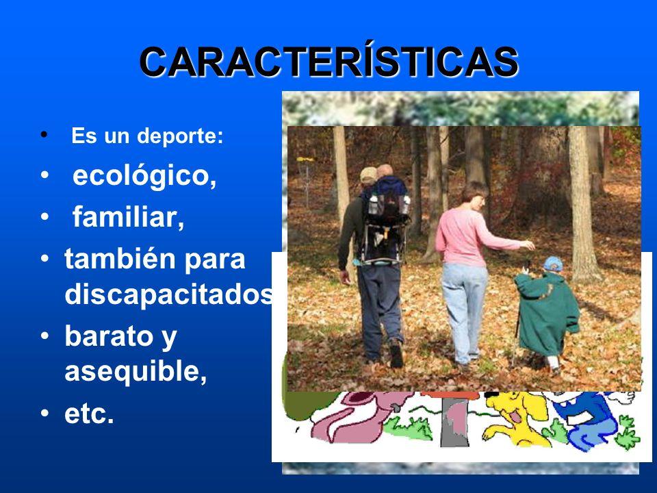 CARACTERÍSTICAS Es un deporte: ecológico, familiar, también para discapacitados barato y asequible, etc.