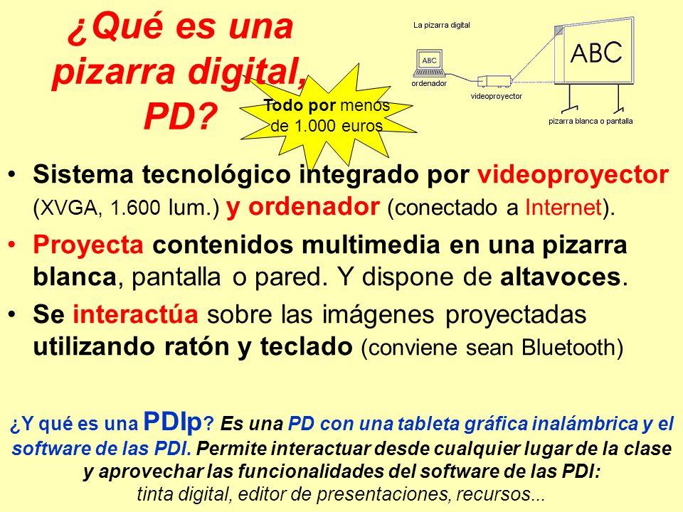 Todo por menos de 1.000 euros ¿Qué es una pizarra digital, PD? Sistema tecnológico integrado por videoproyector ( XVGA, 1.600 lum.) y ordenador (conec