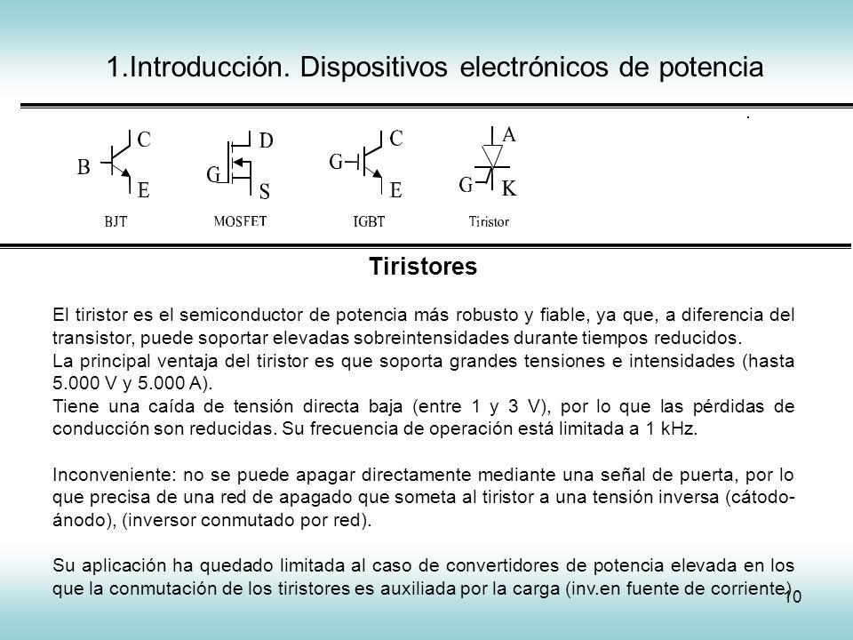 10 1.Introducción. Dispositivos electrónicos de potencia IGCT Tiristores El tiristor es el semiconductor de potencia más robusto y fiable, ya que, a d