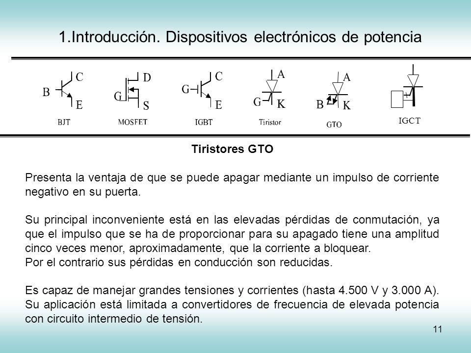 11 1.Introducción. Dispositivos electrónicos de potencia IGCT Tiristores GTO Presenta la ventaja de que se puede apagar mediante un impulso de corrien