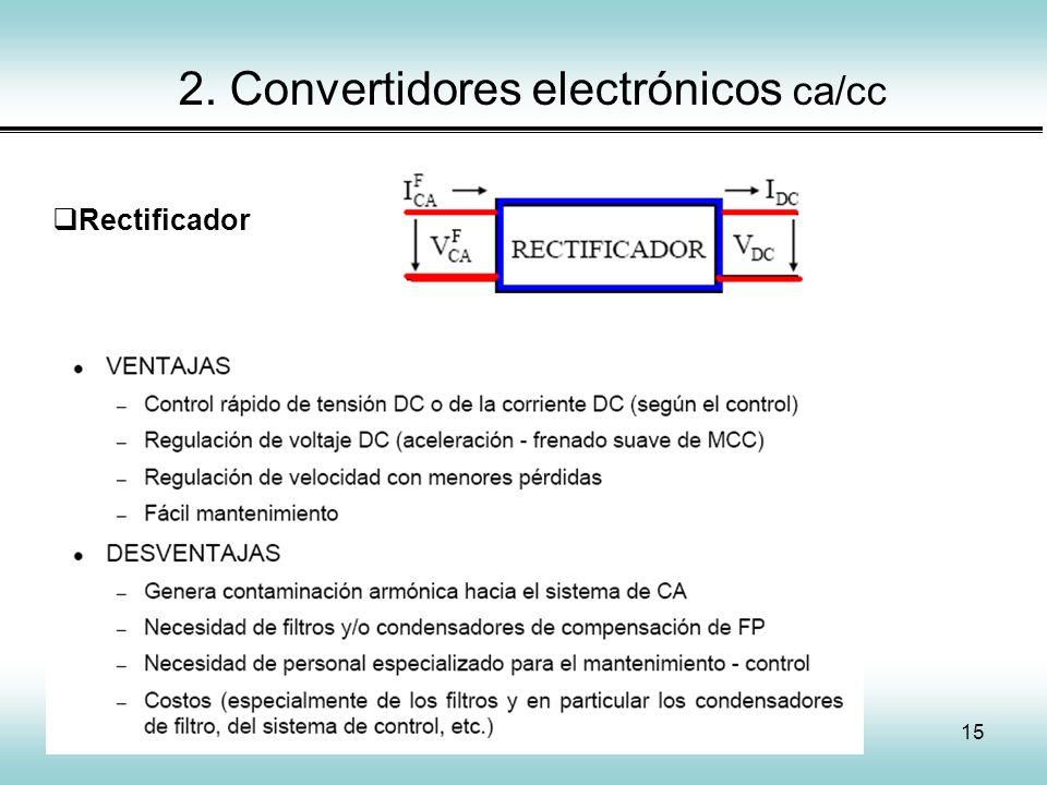 15 2. Convertidores electrónicos ca/cc Rectificador