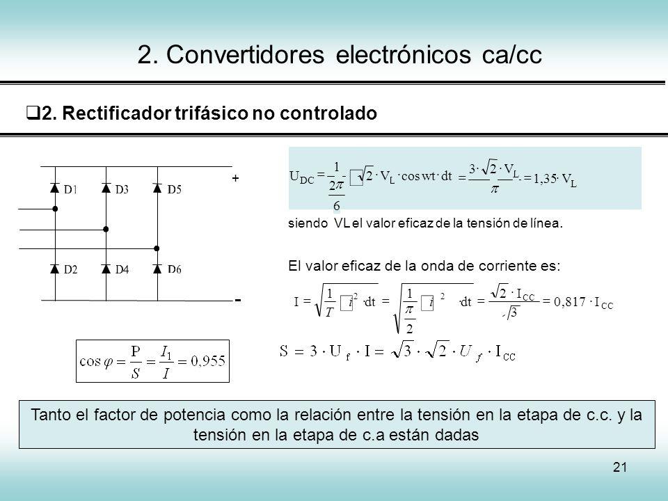 21 2. Convertidores electrónicos ca/cc 2. Rectificador trifásico no controlado Tanto el factor de potencia como la relación entre la tensión en la eta