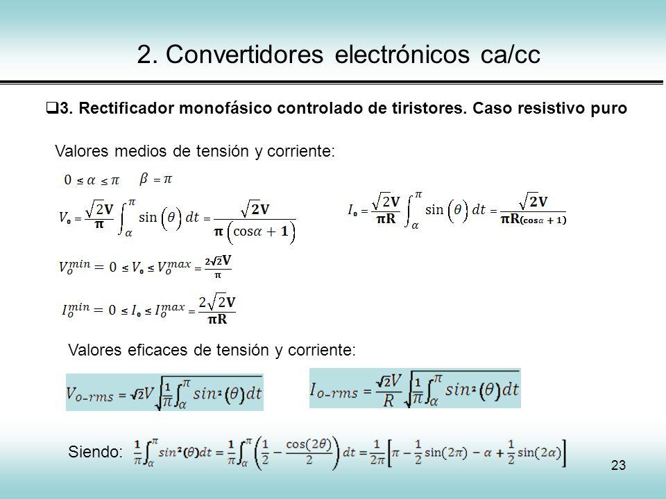 23 2. Convertidores electrónicos ca/cc 3. Rectificador monofásico controlado de tiristores. Caso resistivo puro Valores medios de tensión y corriente: