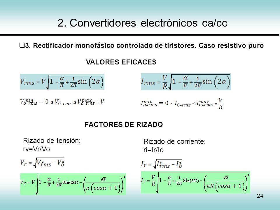 24 2. Convertidores electrónicos ca/cc 3. Rectificador monofásico controlado de tiristores. Caso resistivo puro Rizado de tensión: rv=Vr/Vo Rizado de