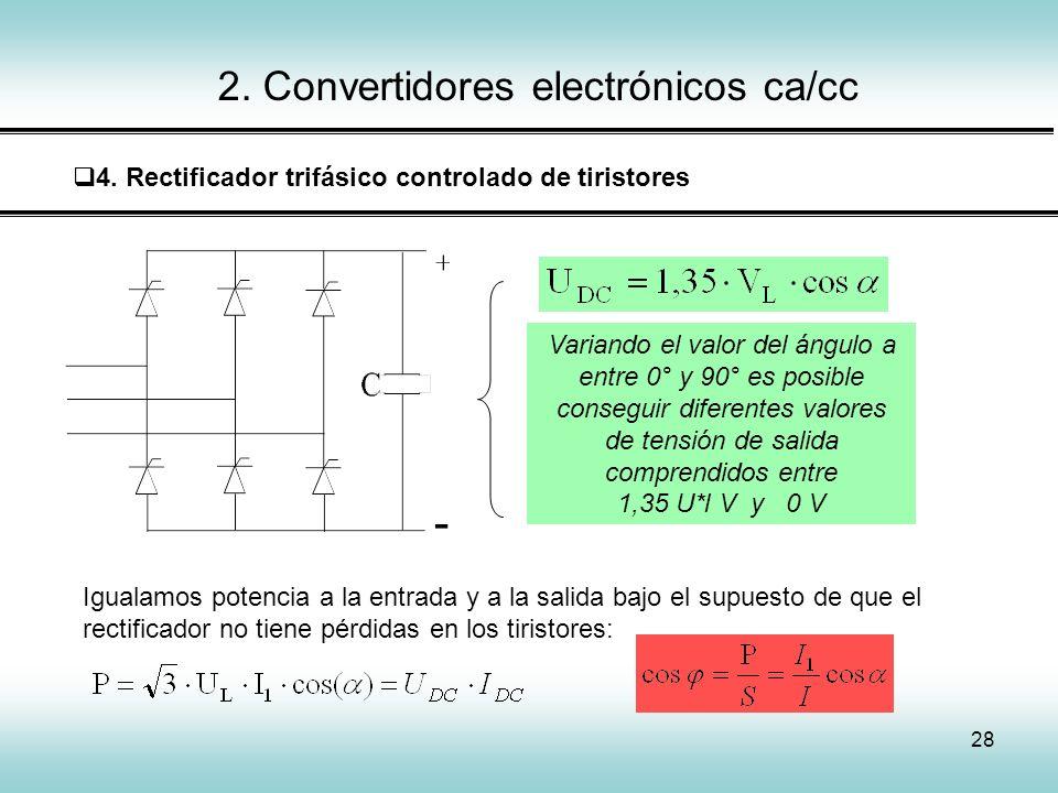 28 2. Convertidores electrónicos ca/cc 4. Rectificador trifásico controlado de tiristores Variando el valor del ángulo a entre 0° y 90° es posible con