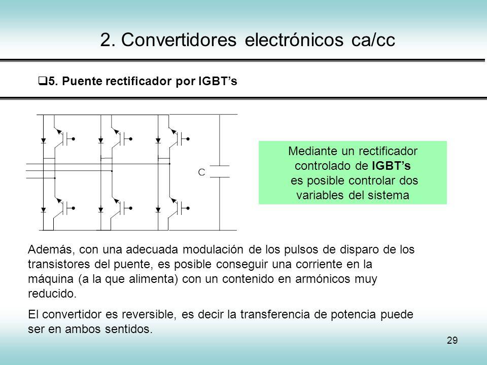 29 2. Convertidores electrónicos ca/cc 5. Puente rectificador por IGBTs Mediante un rectificador controlado de IGBTs es posible controlar dos variable