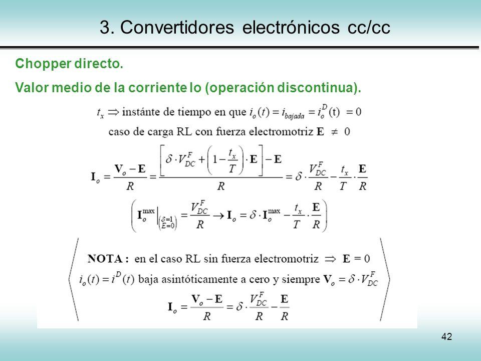 42 3. Convertidores electrónicos cc/cc Chopper directo. Valor medio de la corriente Io (operación discontinua).