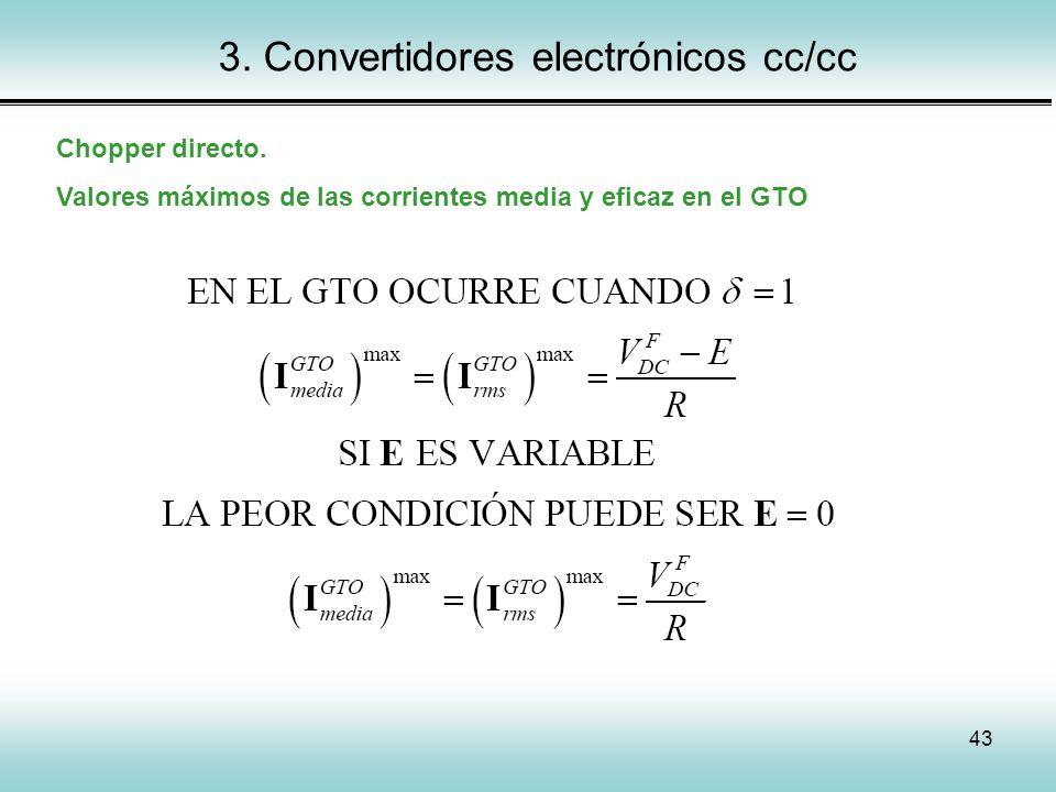 43 3. Convertidores electrónicos cc/cc Chopper directo. Valores máximos de las corrientes media y eficaz en el GTO